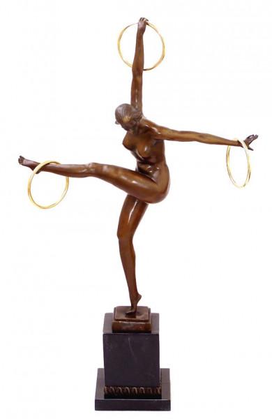 Art Deco Bronze Tänzerin mit 3 Ringen signiert Duvernet