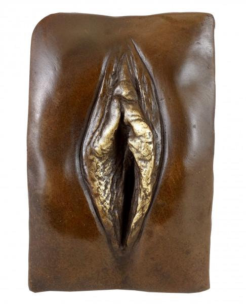 Erotisches Bronze-Relief - Vagina / Vulva - signiert - M. Nick