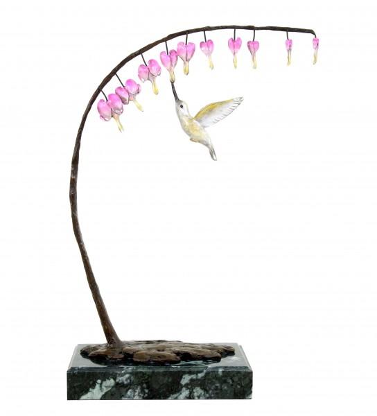 Vogelbronze Kolibri an Knospe - Limitierte Bronzeskulptur von Martin Klein