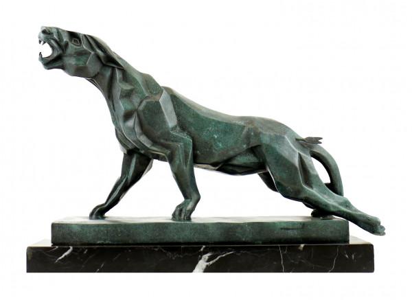 Bronze-Panther im Stil des Kubismus' - sign. Duvernet