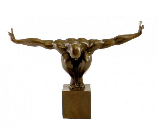 Moderne Bronzefigur - Der Athlet - signiert Milo
