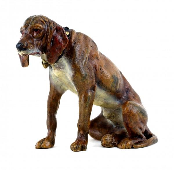Wiener Bronze Hund - Sitzender Jagdhund - Hundeskulptur - gest. Bergmann