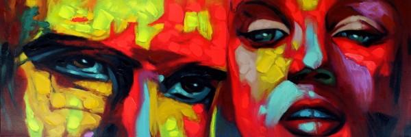 Face Attack – Modernes Gemälde – Martin Klein – Lifestyle Bild