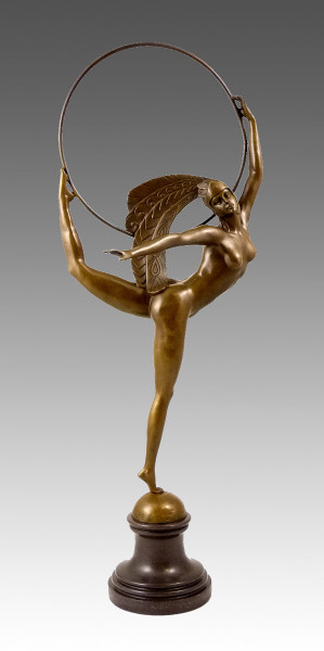 Art Deco Bronze Tänzerin mit Ring von J. P. Morante auf Marmor