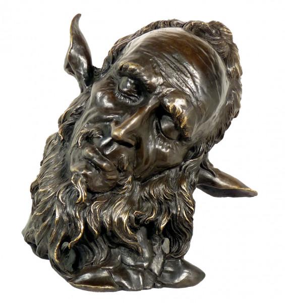 Jugendstil Bronze Charakter Kopf Faun signiert Jean Carries