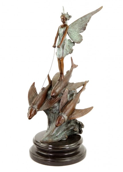 Limitierte Jugendstilfigur - Elfe reitet fliegende Fische - sign. Milo