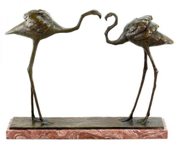 Zwei Flamingos (1912) - signierte Bronzefigur von Rembrandt Bugatti - nummeriert