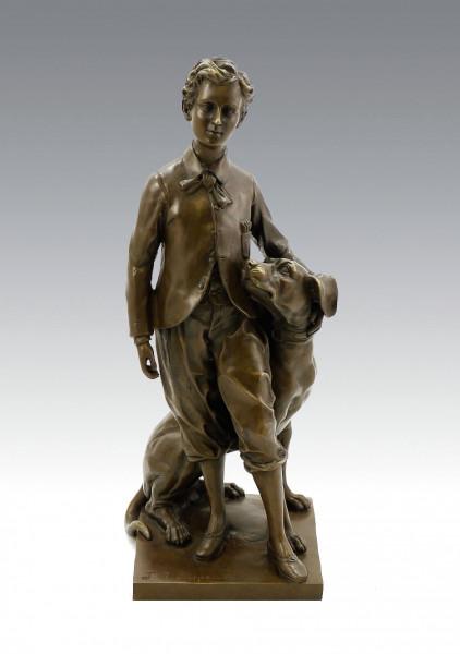 Jugendstil Bronze - The Prince Impérial with His Dog Néro - sign