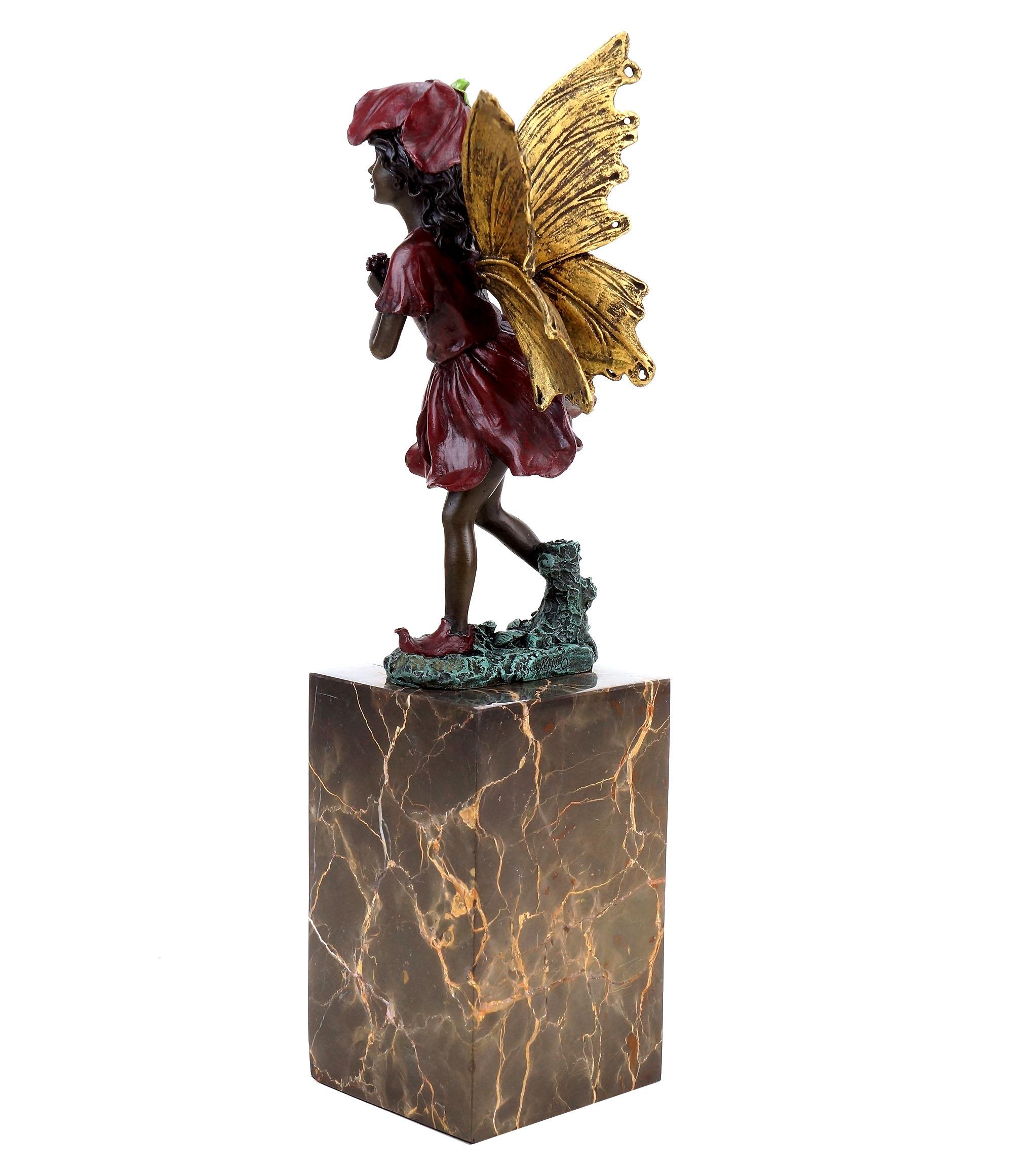 Bronzefigur Skulptur Mythologie Elfe Milo Die Träumerin Auf Rundsockel  Sign