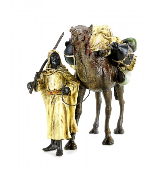 Araberkrieger mit Kamel - Wiener Bronze - gestempelt - handbemalt