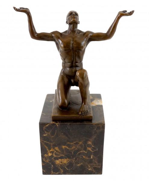 Bronzeskulptur - Kniender Adonis - signiert - Milo