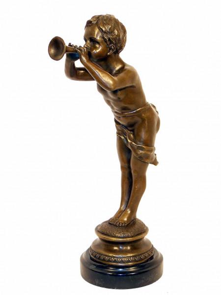 Jugendstil Bronze - Trompeter Junge signiert Louis Kley