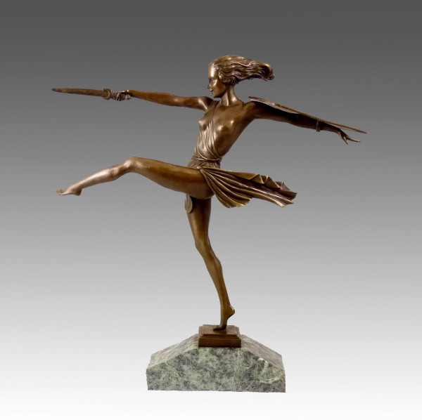 Art Deco Bronze von Pierre le Faguays - Die Amazone - signiert
