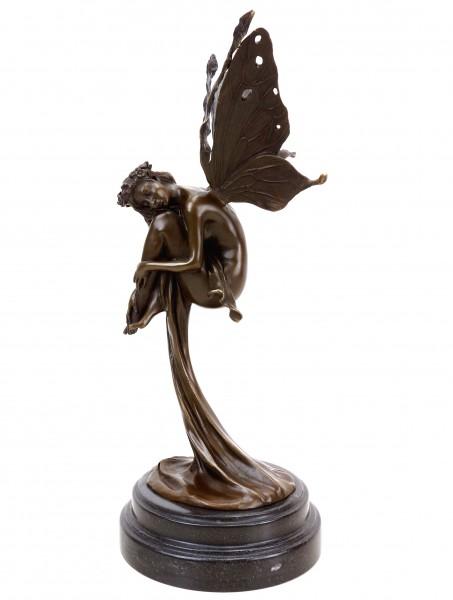 Bronze Fee - Träumende Elfe in Gewand - signiert Cesaro - limitiert