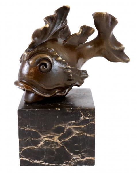 Tierfigur aus Bronze - Niedlicher Goldfisch - M. Klein - sign.