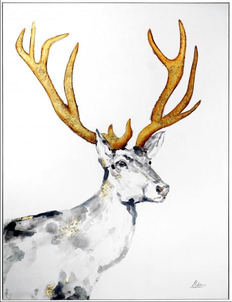 Stolzer Hirsch I – Jagd Gemälde – Martin Klein – Tierbild - Hirsch Bild