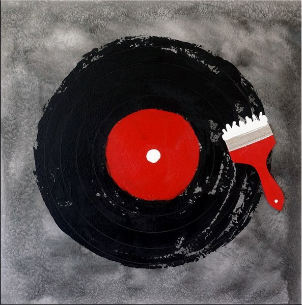 Addicted to Music / DJ-Vinyl - Acrylmalerei auf Leinwand