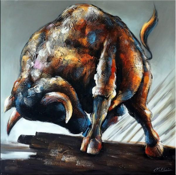 Entfesselt - Abstrakter Stier / Bulle - Acryl auf Leinwand