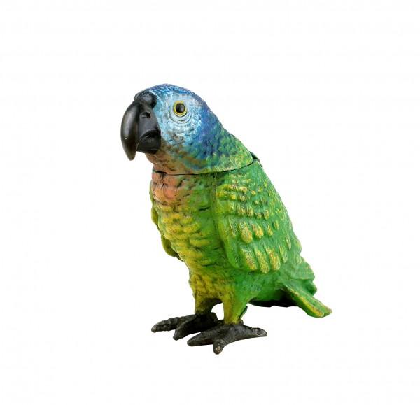 Handbemalter Papagei - Wiener Bronze Streichholzständer - Vogelfigur