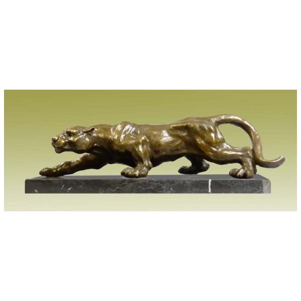 Schleichender Panther - imposante Tierbronze auf Marmorsockel