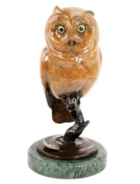 Limitierte Tierfigur aus Bronze - Eule - Waldkauz  - signiert Milo