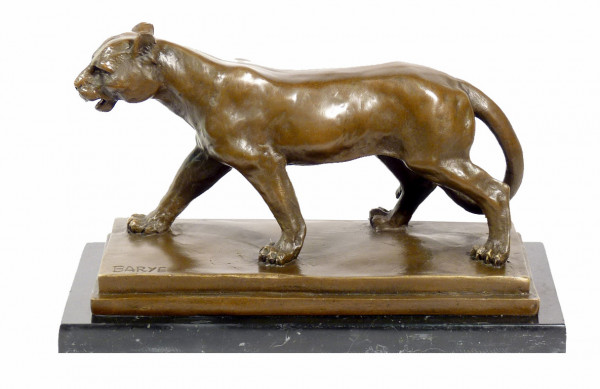 Tierskulptur aus Bronze - Laufender Panther - signiert Barye