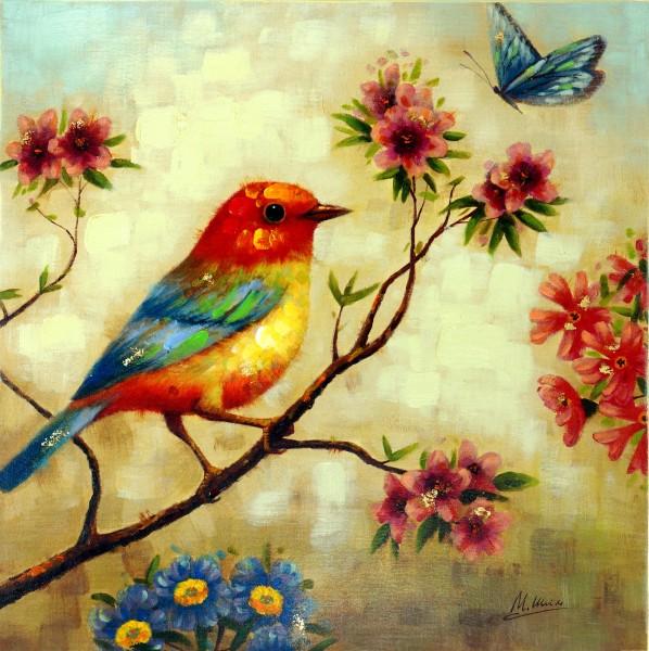 Bird with Butterfly – Vogelbild – Tiergemälde – Martin Klein