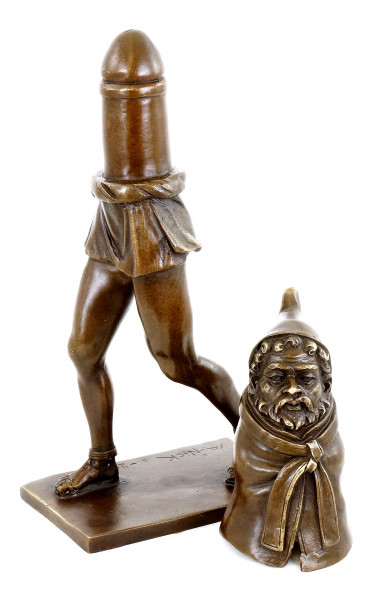 Fruchtbarkeitsgott Priapus - Zweiteilige erotische Bronzefigur