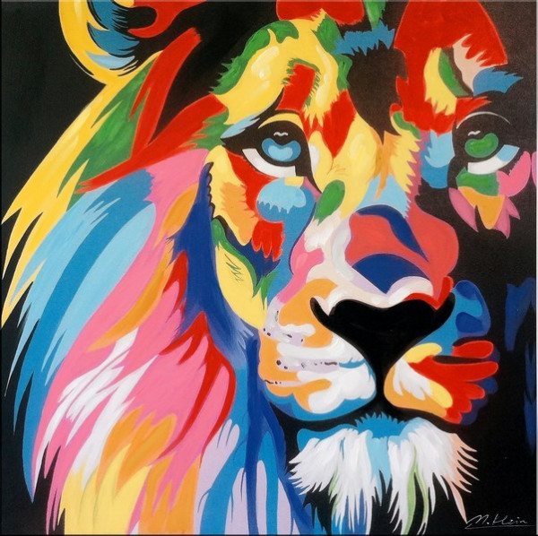 Colourful Pop Art Lion / Löwe - Modernes Acrylbild
