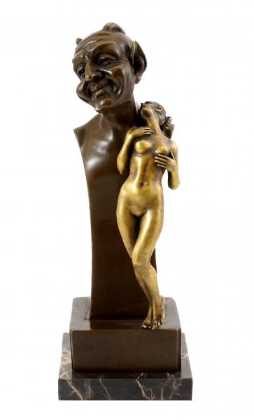 Teufel-Büste mit Jungfrau - Wiener Bronze - Bergmann-Stempel