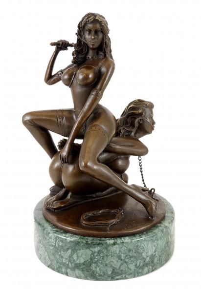 Erotik-Bronze - Lesbisches Bondage-Pärchen - signiert - M. Nick