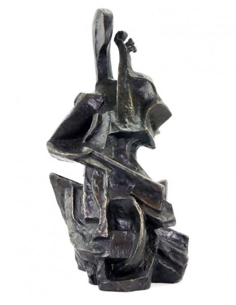 Der Cellospieler / Cellista - Otto Gutfreund - Kubistische Bronzeskulptur