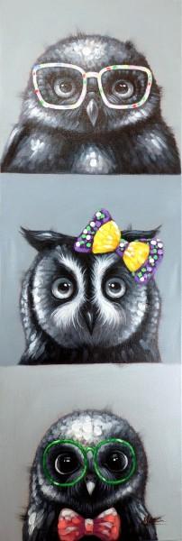 Owl Selfies – Eulenbild – Martin Klein – Witziges Tierbild - Eulen Gemälde