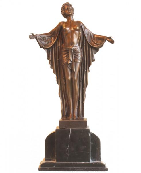 Art Deco Bronze Akt Tänzerin von Chiparus auf Marmorsockel