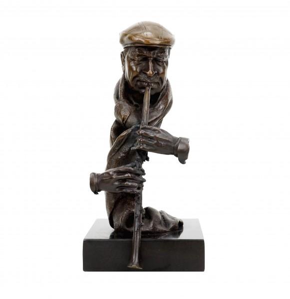 Klarinettenspieler - Moderne Bronzeskulptur - signiert Martin Klein