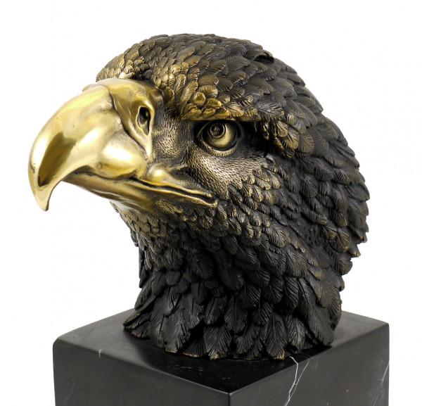 Tierfigur aus Bronze - Adler auf Marmor - sign. Milo