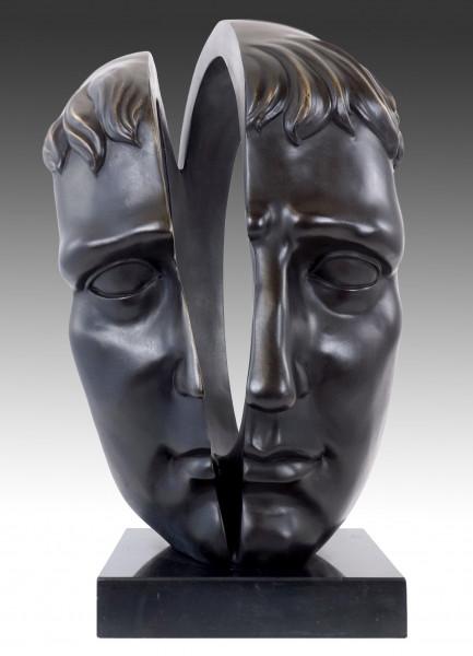Moderne Bronzeskulptur - Zwei Seelen - signiert M. Klein