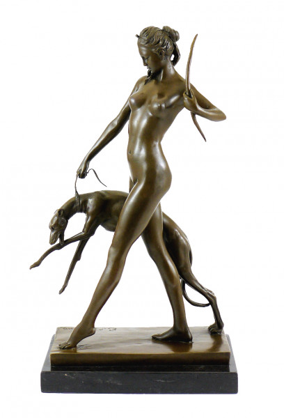 Bronzeskulptur - Diana mit Hund - sign. Edward McCartan