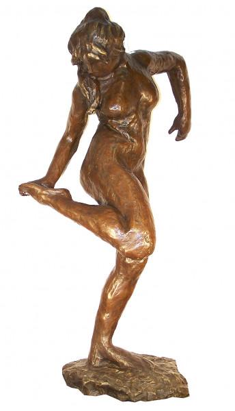 Großbronze - Tänzerin Schuh anziehend, signiert - Edgar Degas