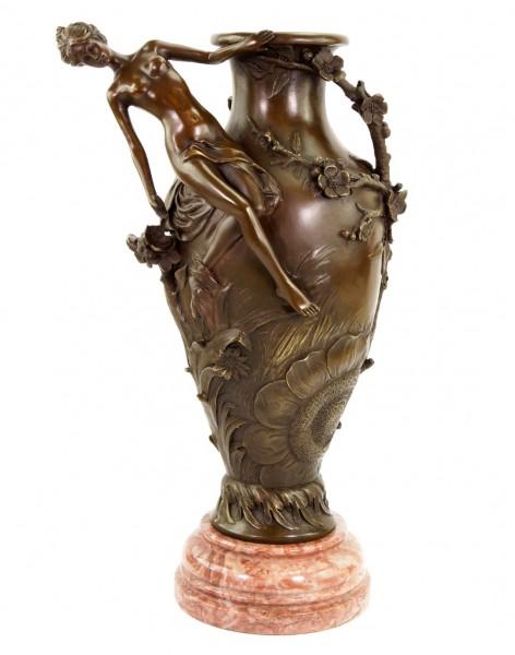 Jugendstil Vase aus Bronze - signiert Moreau - Erotik Akt