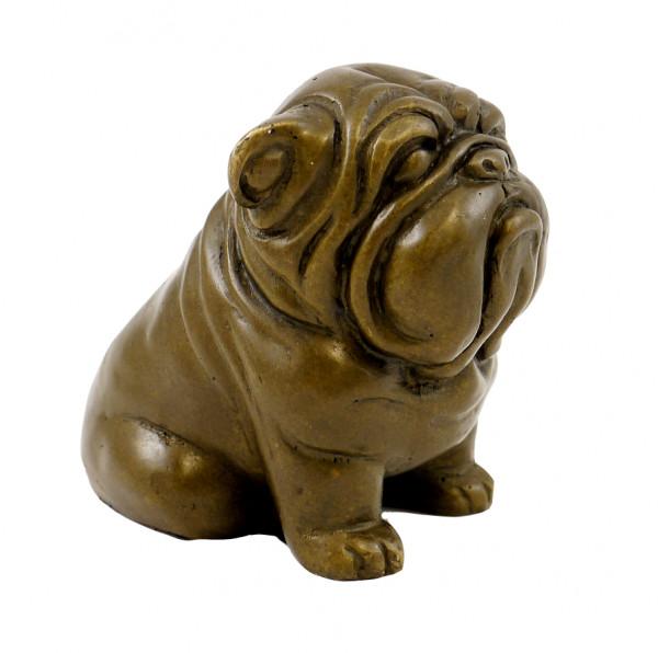 Wiener Bronze Tierfigur - Wartender Mops - von Bergmann Wien