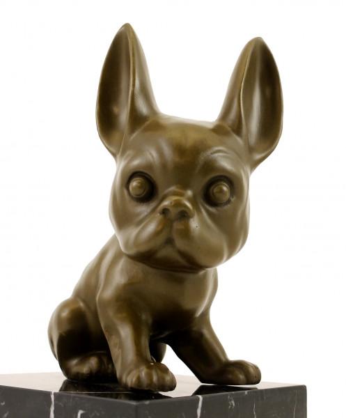 Tierfigur aus Bronze - Französische Bulldogge - Bully - sign.