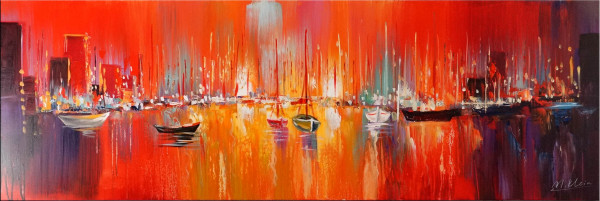 Öl-/ Acrylbild - Hafen im Sonnenuntergang - Martin Klein
