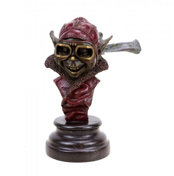 Gnom Figur aus Bronze - Berti der Bruchpilot - Kobold - Martin Klein