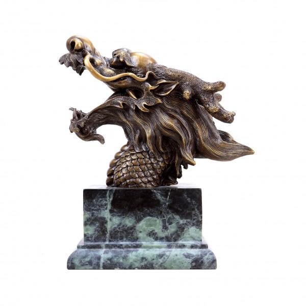Chinesischer Drachenkopf aus Bronze - Drache Lóng - sign. Martin Klein
