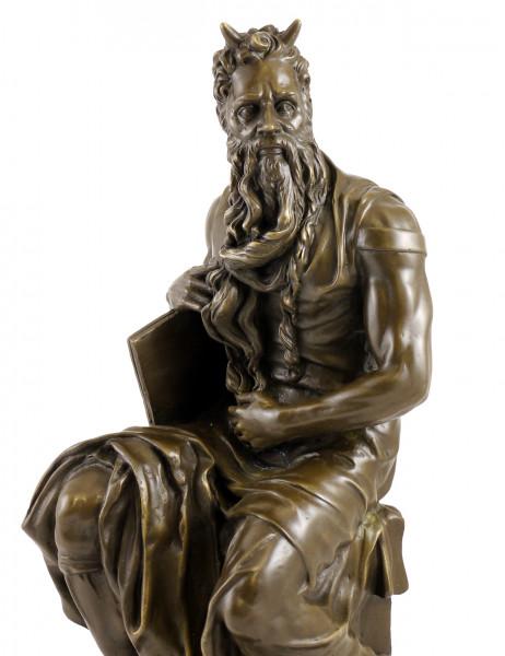 Bronzefigur - Moses von Michelangelo - signiert Michelangelo