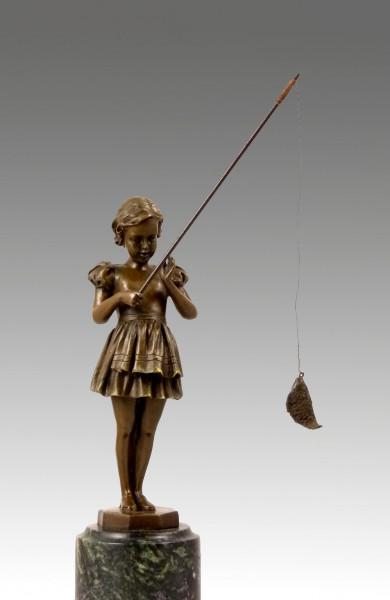 Traumhafte Art Deco Bronze - Mädchen mit Angel - von F. Preiss