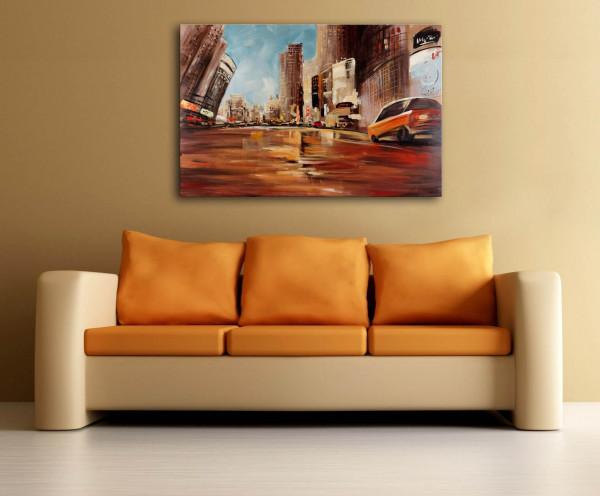 Straßenszene in New York - Martin Klein - Öl auf Leinwand
