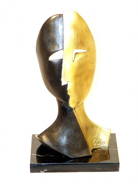 Modern Art Kunstmaske in Bronze - signiert Miguel Guia