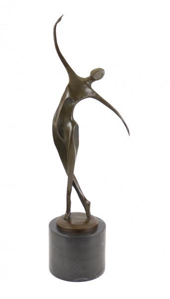 Bronzefigur - Abstrakte Tänzerin auf schwarzem Marmor - Milo